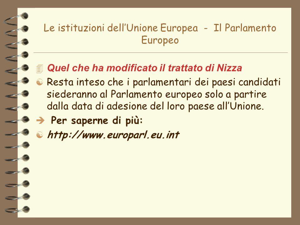 Le istituzioni dellUnione Europea - Il Parlamento Europeo 4 Quel che ha modificato il trattato di Nizza [ Resta inteso che i parlamentari dei paesi ca