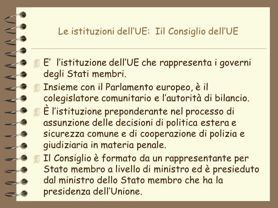 Le istituzioni dellUE: Iil Consiglio dellUE 4 E listituzione dellUE che rappresenta i governi degli Stati membri. 4 Insieme con il Parlamento europeo,