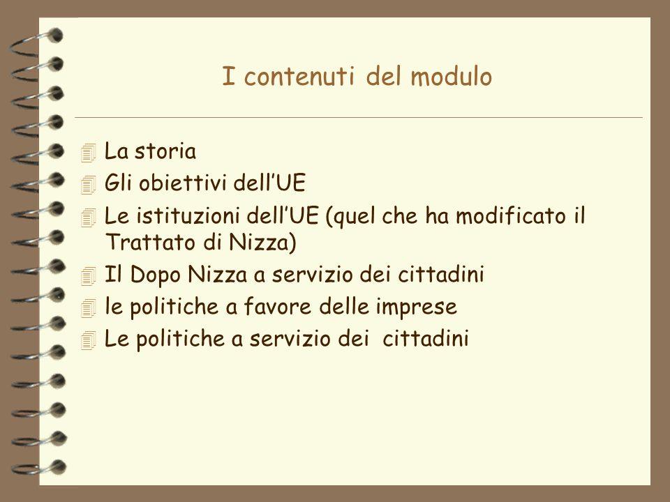 I contenuti del modulo 4 La storia 4 Gli obiettivi dellUE 4 Le istituzioni dellUE (quel che ha modificato il Trattato di Nizza) 4 Il Dopo Nizza a serv