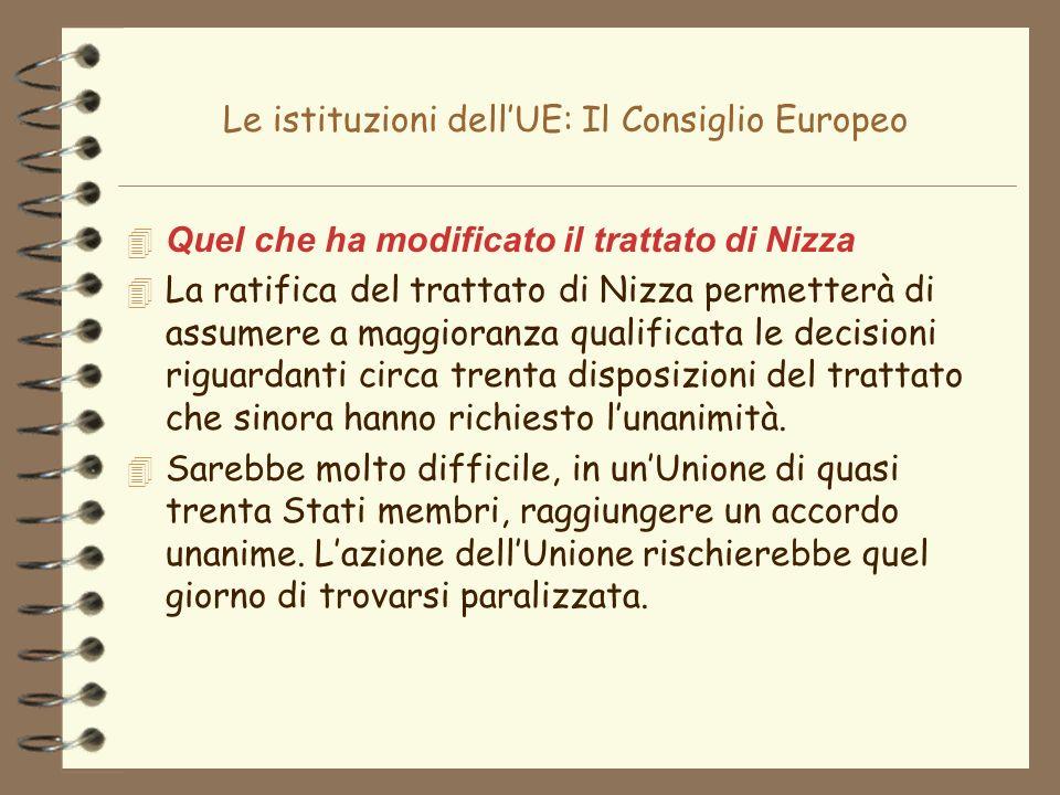 Le istituzioni dellUE: Il Consiglio Europeo 4 Quel che ha modificato il trattato di Nizza 4 La ratifica del trattato di Nizza permetterà di assumere a