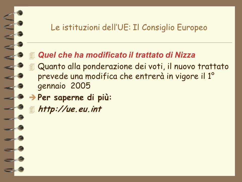 Le istituzioni dellUE: Il Consiglio Europeo 4 Quel che ha modificato il trattato di Nizza 4 Quanto alla ponderazione dei voti, il nuovo trattato preve