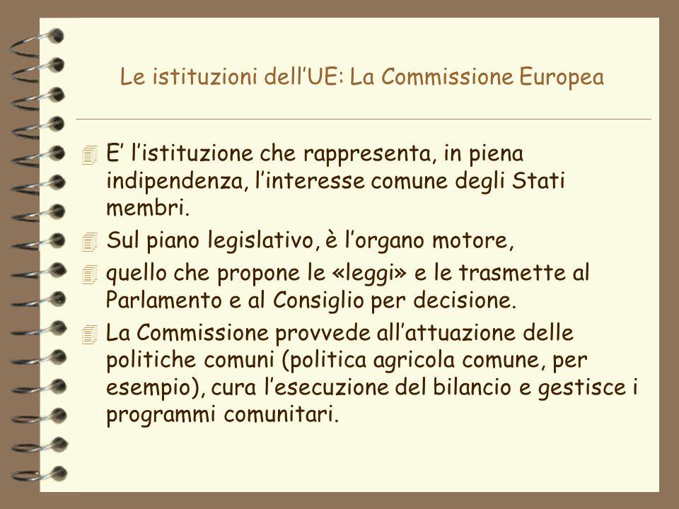 Le istituzioni dellUE: La Commissione Europea 4 E listituzione che rappresenta, in piena indipendenza, linteresse comune degli Stati membri. 4 Sul pia