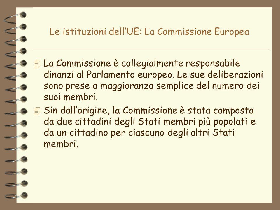Le istituzioni dellUE: La Commissione Europea La Commissione è collegialmente responsabile dinanzi al Parlamento europeo. Le sue deliberazioni sono pr