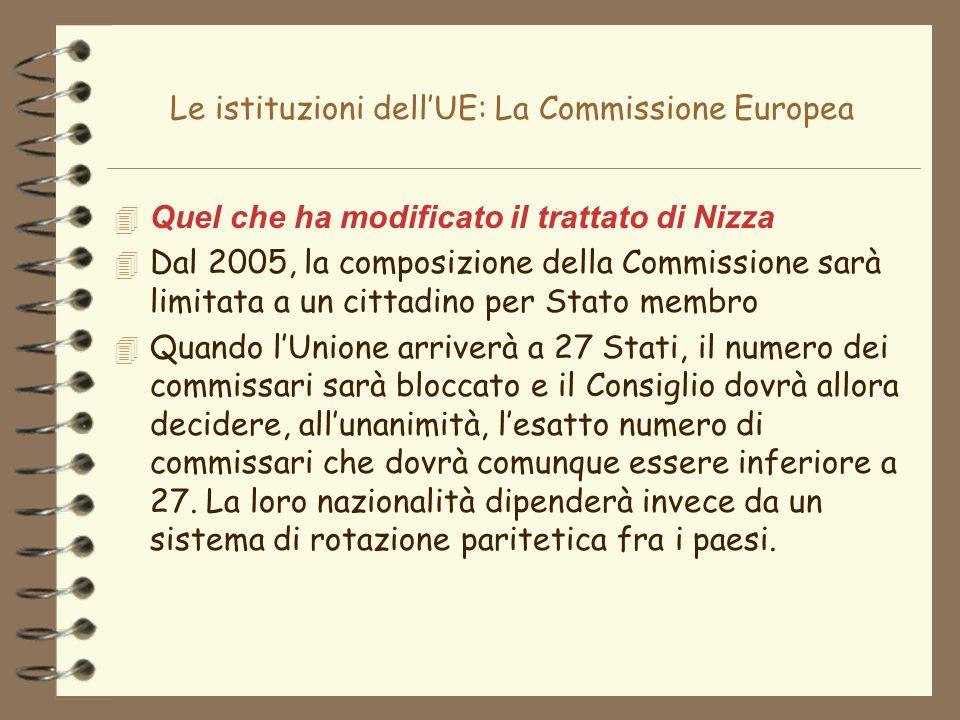 Le istituzioni dellUE: La Commissione Europea 4 Quel che ha modificato il trattato di Nizza 4 Dal 2005, la composizione della Commissione sarà limitat
