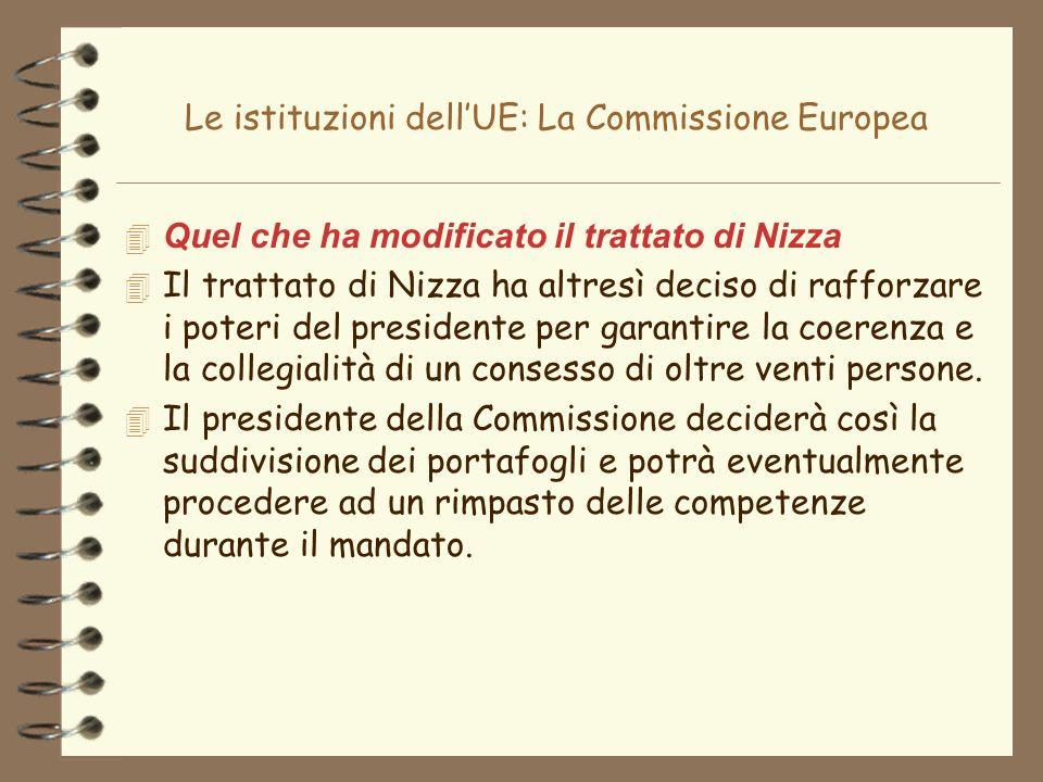 Le istituzioni dellUE: La Commissione Europea 4 Quel che ha modificato il trattato di Nizza 4 Il trattato di Nizza ha altresì deciso di rafforzare i p
