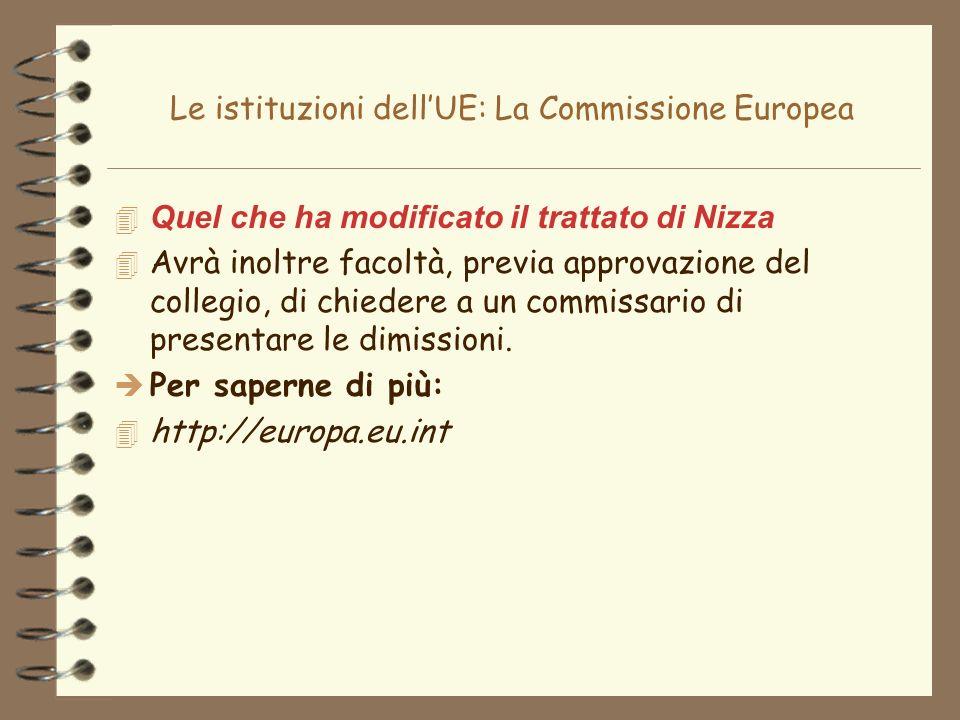 Le istituzioni dellUE: La Commissione Europea 4 Quel che ha modificato il trattato di Nizza 4 Avrà inoltre facoltà, previa approvazione del collegio,