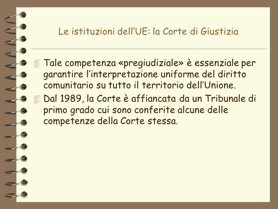 Le istituzioni dellUE: la Corte di Giustizia 4 Tale competenza «pregiudiziale» è essenziale per garantire linterpretazione uniforme del diritto comuni