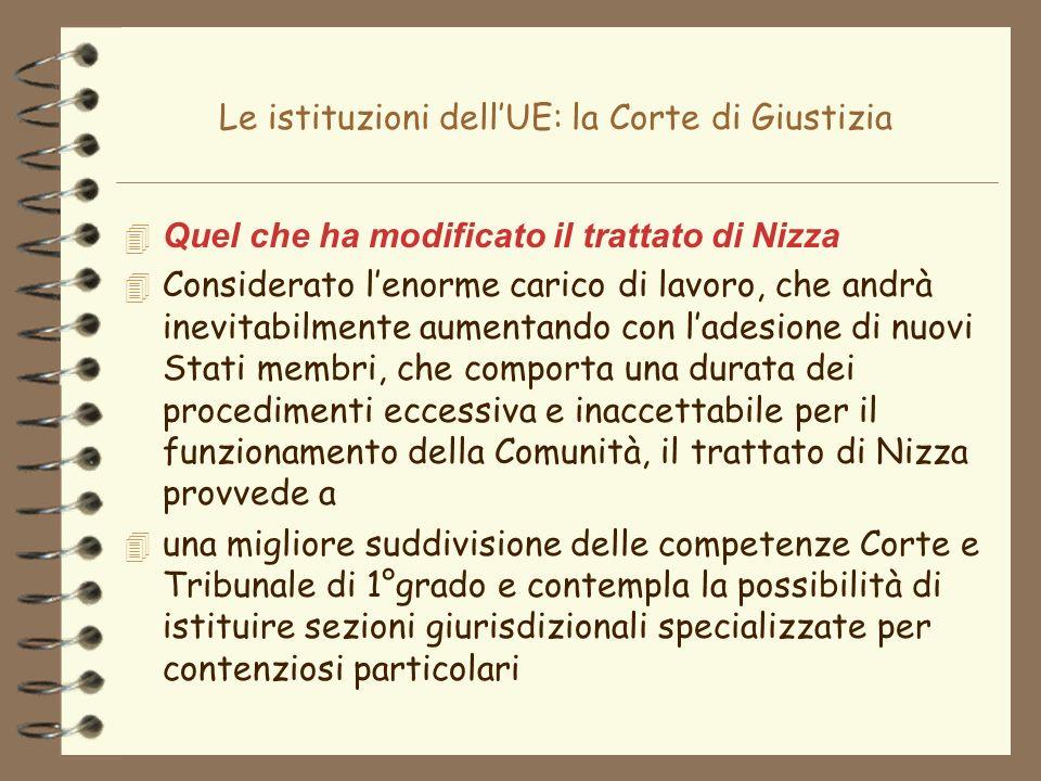 Le istituzioni dellUE: la Corte di Giustizia 4 Quel che ha modificato il trattato di Nizza 4 Considerato lenorme carico di lavoro, che andrà inevitabi