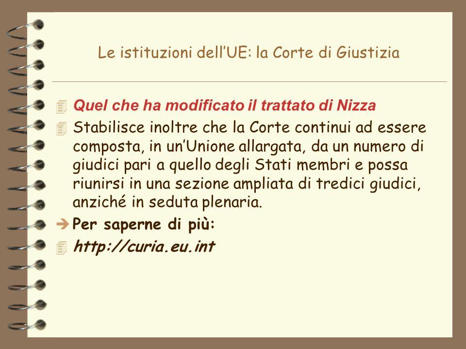 Le istituzioni dellUE: la Corte di Giustizia 4 Quel che ha modificato il trattato di Nizza 4 Stabilisce inoltre che la Corte continui ad essere compos