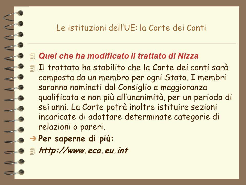 Le istituzioni dellUE: la Corte dei Conti 4 Quel che ha modificato il trattato di Nizza Il trattato ha stabilito che la Corte dei conti sarà composta