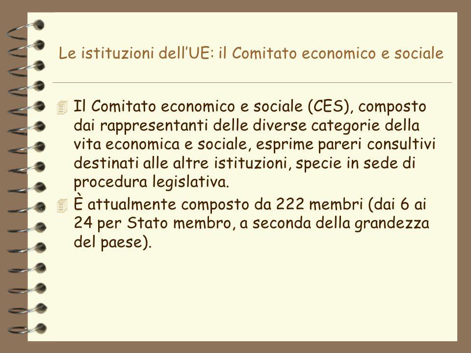 Le istituzioni dellUE: il Comitato economico e sociale 4 Il Comitato economico e sociale (CES), composto dai rappresentanti delle diverse categorie de