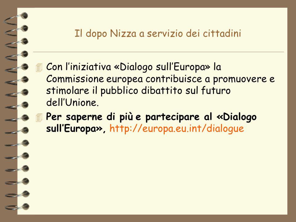 Il dopo Nizza a servizio dei cittadini 4 Con liniziativa «Dialogo sullEuropa» la Commissione europea contribuisce a promuovere e stimolare il pubblico