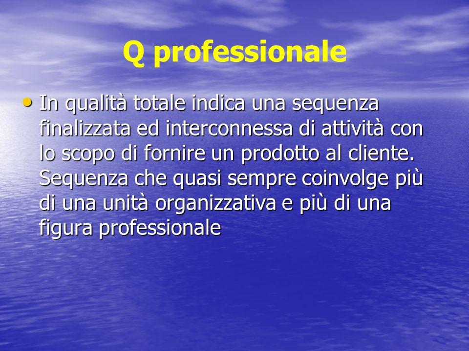 Q professionale In qualità totale indica una sequenza finalizzata ed interconnessa di attività con lo scopo di fornire un prodotto al cliente.