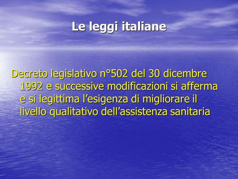 Le leggi italiane Decreto legislativo n°502 del 30 dicembre 1992 e successive modificazioni si afferma e si legittima lesigenza di migliorare il livello qualitativo dellassistenza sanitaria