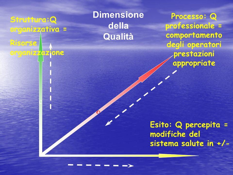 c Struttura:Q organizzativa = Risorse organizzazione Processo: Q professionale = comportamento degli operatori prestazioni appropriate Esito: Q percepita = modifiche del sistema salute in +/- Dimensione della Qualità c