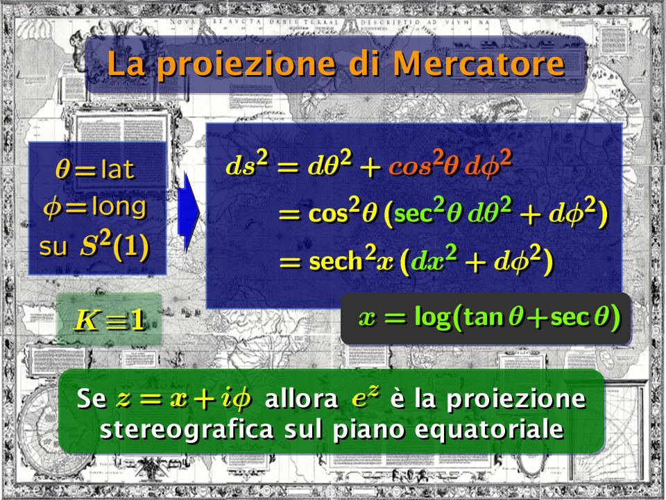 Bari 24/09/07 La proiezione di Mercatore Se allora è la proiezione stereografica sul piano equatoriale