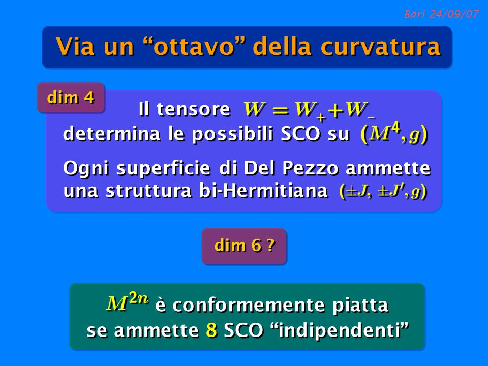 Bari 24/09/07 è conformemente piatta se ammette 8 SCO indipendenti dim 4 Ogni superficie di Del Pezzo ammette una struttura bi-Hermitiana dim 6 ? dete