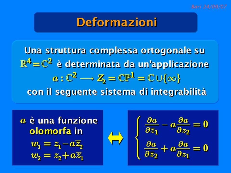 Bari 24/09/07 è determinata da unapplicazione Una struttura complessa ortogonale su con il seguente sistema di integrabilità è una funzione olomorfa i