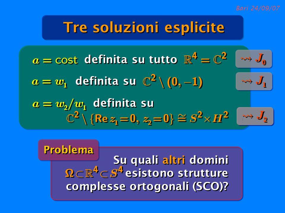 Bari 24/09/07 Su quali altri domini esistono strutture complesse ortogonali (SCO)? Problema Tre soluzioni esplicite definita su tutto definita su