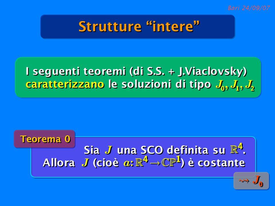 Bari 24/09/07 Strutture intere I seguenti teoremi (di S.S. + J.Viaclovsky) caratterizzano le soluzioni di tipo Sia una SCO definita su. Allora (cioè )