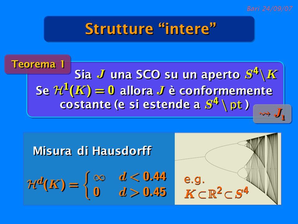Bari 24/09/07 Misura di Hausdorff Strutture intere Sia una SCO su un aperto Se allora è conformemente costante (e si estende a ) Teorema 1