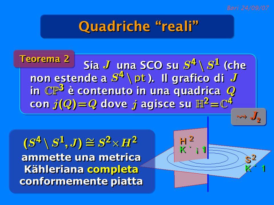 Bari 24/09/07 Sia una SCO su (che non estende a ). Il grafico di in è contenuto in una quadrica Teorema 2 ammette una metrica Kähleriana completa conf