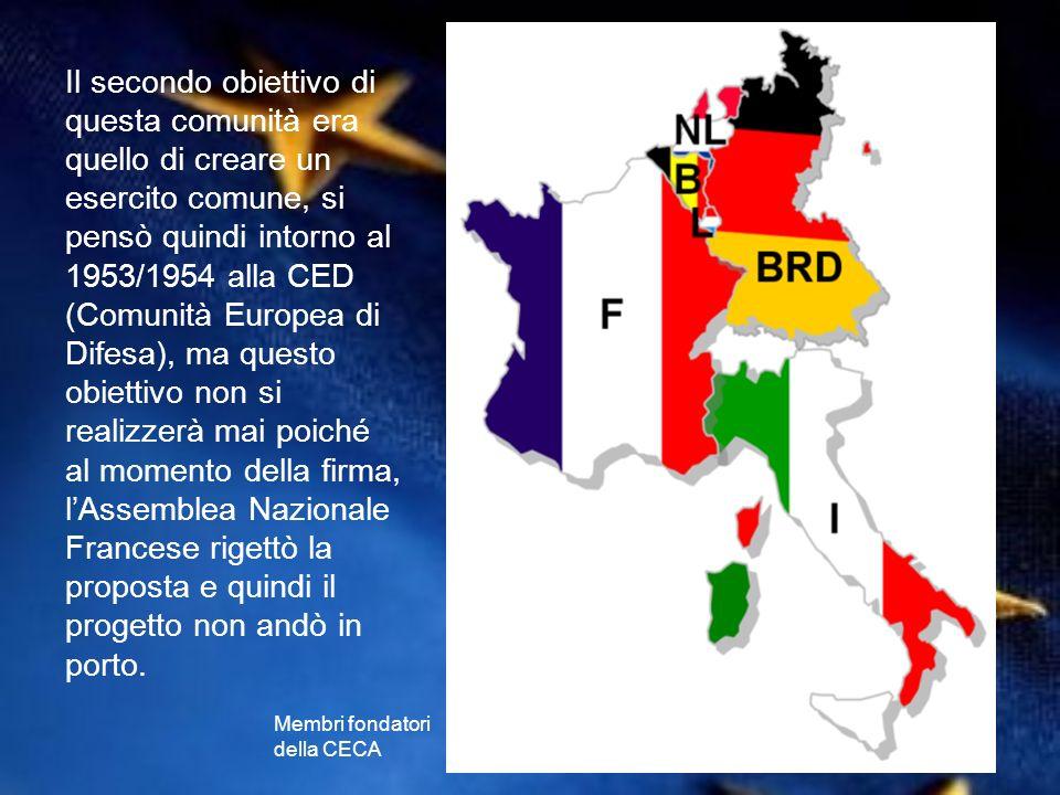 Il secondo obiettivo di questa comunità era quello di creare un esercito comune, si pensò quindi intorno al 1953/1954 alla CED (Comunità Europea di Di