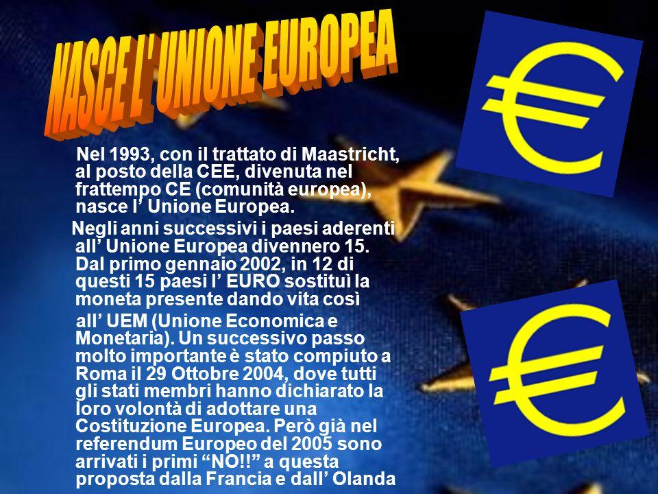 Nel 1993, con il trattato di Maastricht, al posto della CEE, divenuta nel frattempo CE (comunità europea), nasce l Unione Europea. Negli anni successi