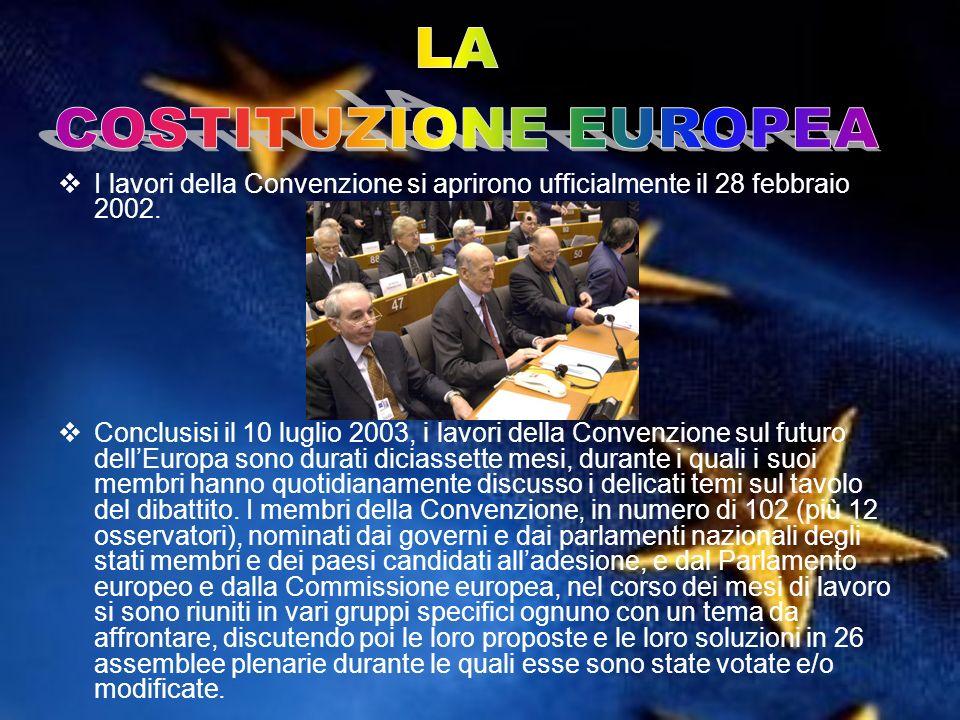 I lavori della Convenzione si aprirono ufficialmente il 28 febbraio 2002. Conclusisi il 10 luglio 2003, i lavori della Convenzione sul futuro dellEuro