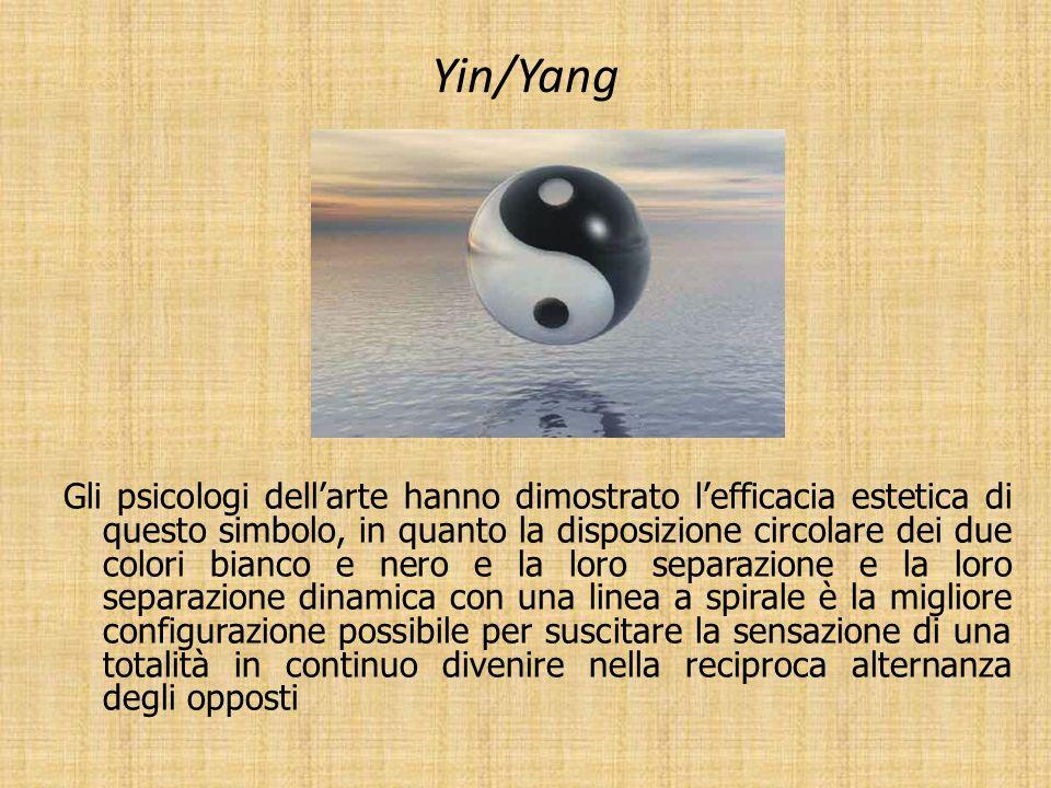 Yin/Yang Gli psicologi dellarte hanno dimostrato lefficacia estetica di questo simbolo, in quanto la disposizione circolare dei due colori bianco e ne