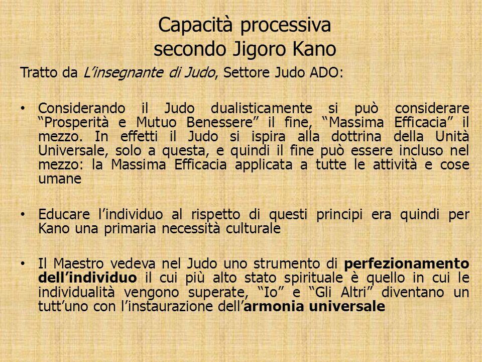 Capacità processiva secondo Jigoro Kano Tratto da Linsegnante di Judo, Settore Judo ADO: Considerando il Judo dualisticamente si può considerare Prosp
