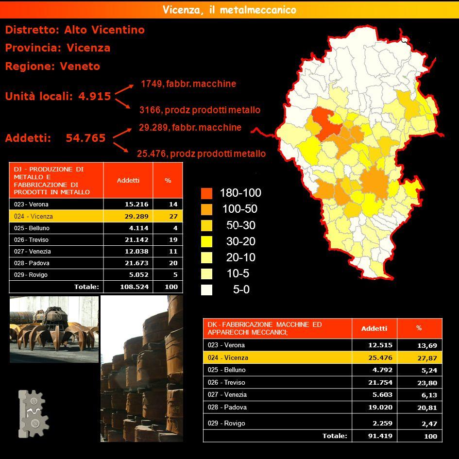 Distretto: Alto Vicentino Provincia: Vicenza Regione: Veneto Unità locali: 4.915 Addetti: 54.765 Vicenza, il metalmeccanico 5-0 10-5 20-10 30-20 50-30