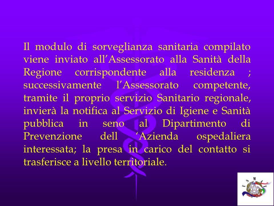 Il modulo di sorveglianza sanitaria compilato viene inviato allAssessorato alla Sanità della Regione corrispondente alla residenza ; successivamente l