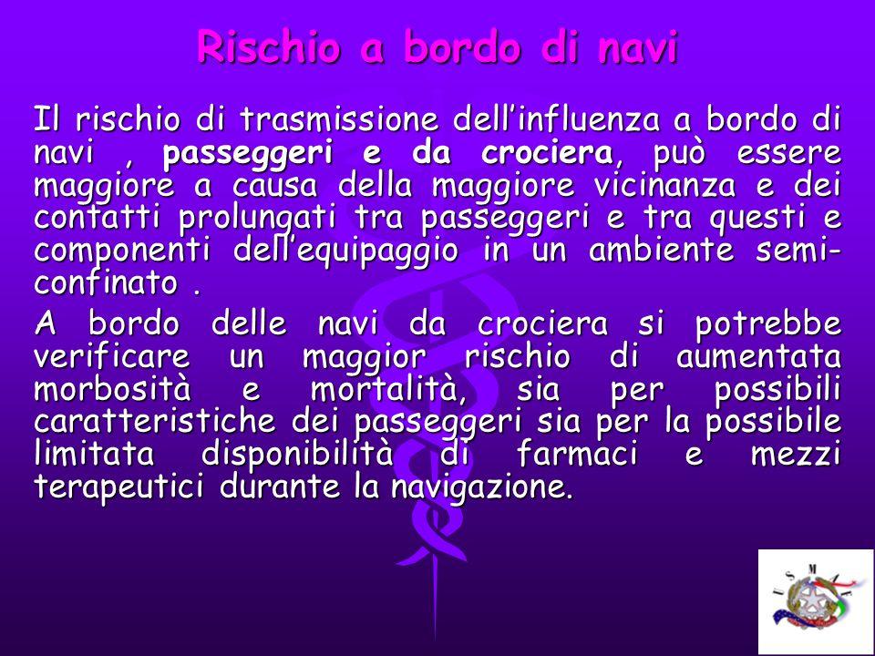 Rischio a bordo di navi Il rischio di trasmissione dellinfluenza a bordo di navi, passeggeri e da crociera, può essere maggiore a causa della maggiore