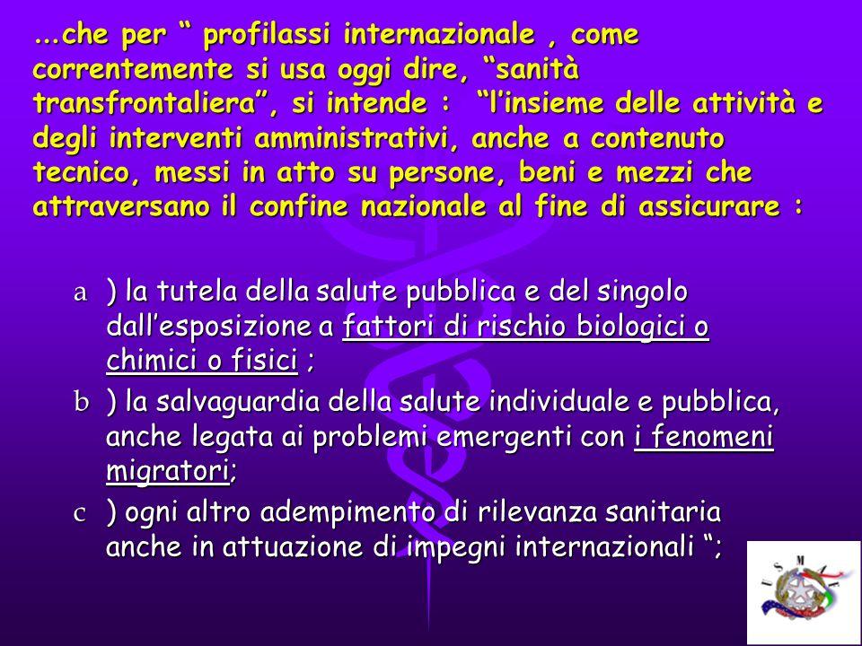 … che per profilassi internazionale, come correntemente si usa oggi dire, sanità transfrontaliera, si intende : linsieme delle attività e degli interv