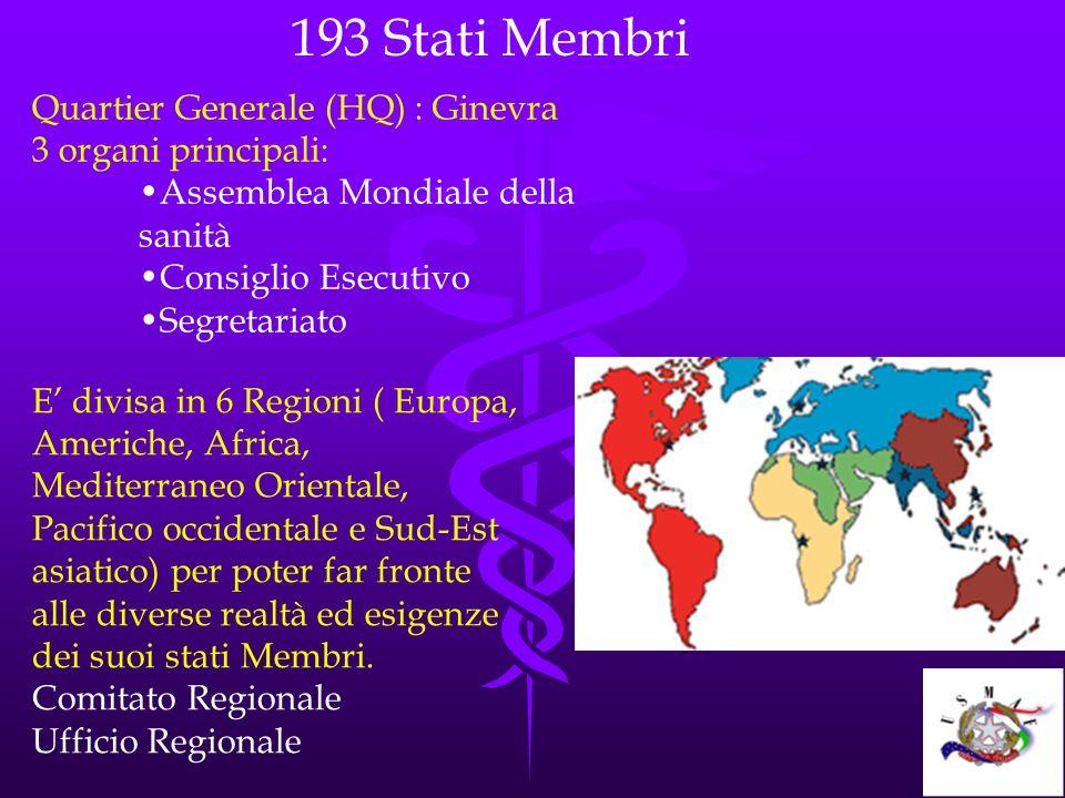Quartier Generale (HQ) : Ginevra 3 organi principali: Assemblea Mondiale della sanità Consiglio Esecutivo Segretariato E divisa in 6 Regioni ( Europa,