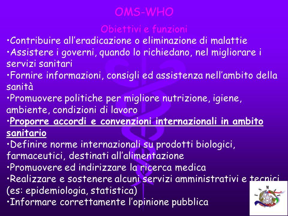 OMS-WHO Obiettivi e funzioni Contribuire alleradicazione o eliminazione di malattie Assistere i governi, quando lo richiedano, nel migliorare i serviz