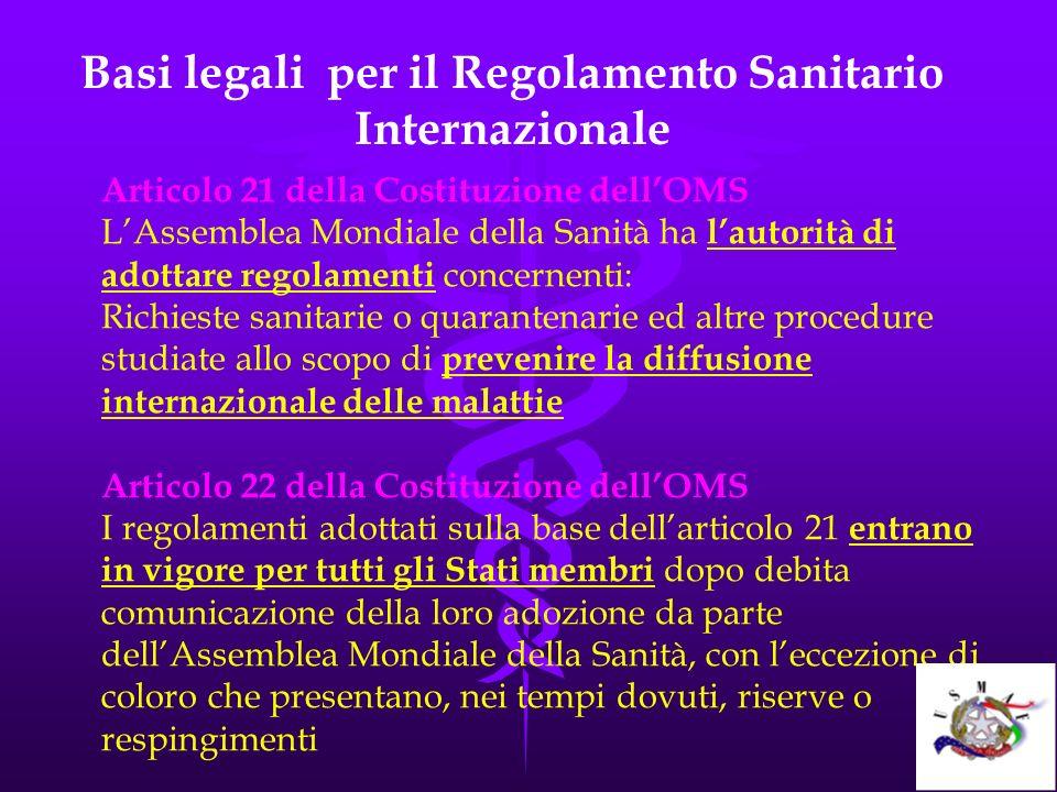 Basi legali per il Regolamento Sanitario Internazionale Articolo 21 della Costituzione dellOMS LAssemblea Mondiale della Sanità ha lautorità di adotta