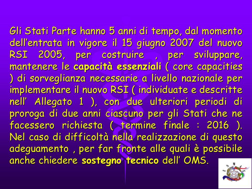 Gli Stati Parte hanno 5 anni di tempo, dal momento dellentrata in vigore il 15 giugno 2007 del nuovo RSI 2005, per costruire, per sviluppare, mantener