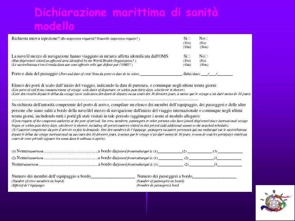 Dichiarazione marittima di sanità modello