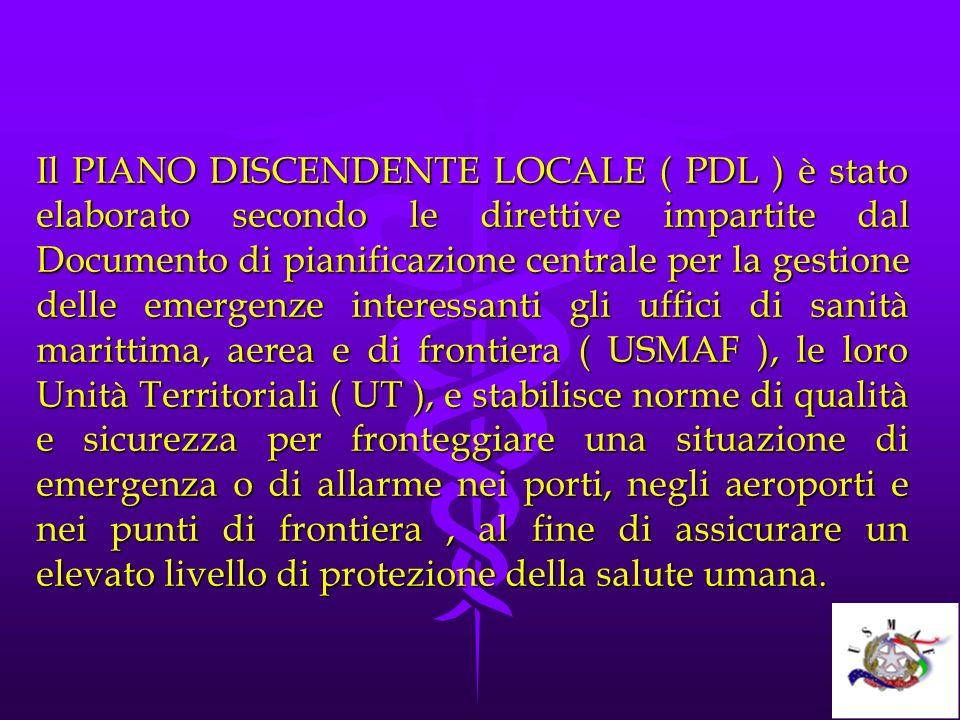 Il PIANO DISCENDENTE LOCALE ( PDL ) è stato elaborato secondo le direttive impartite dal Documento di pianificazione centrale per la gestione delle em