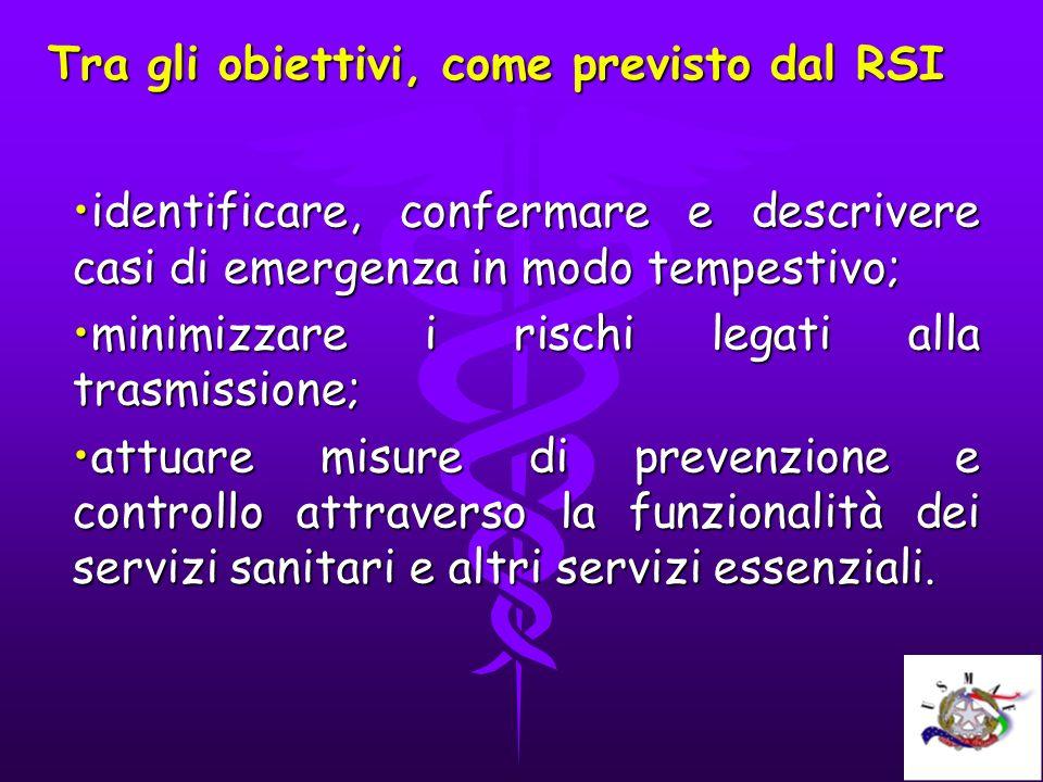 Tra gli obiettivi, come previsto dal RSI identificare, confermare e descrivere casi di emergenza in modo tempestivo;identificare, confermare e descriv