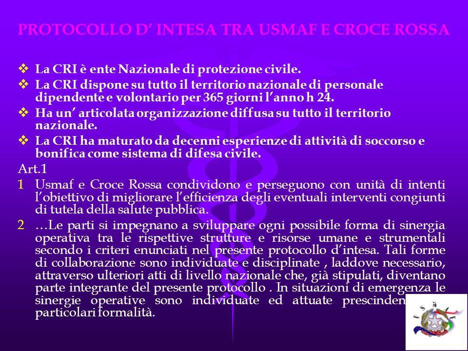 PROTOCOLLO D INTESA TRA USMAF E CROCE ROSSA La CRI è ente Nazionale di protezione civile. La CRI dispone su tutto il territorio nazionale di personale