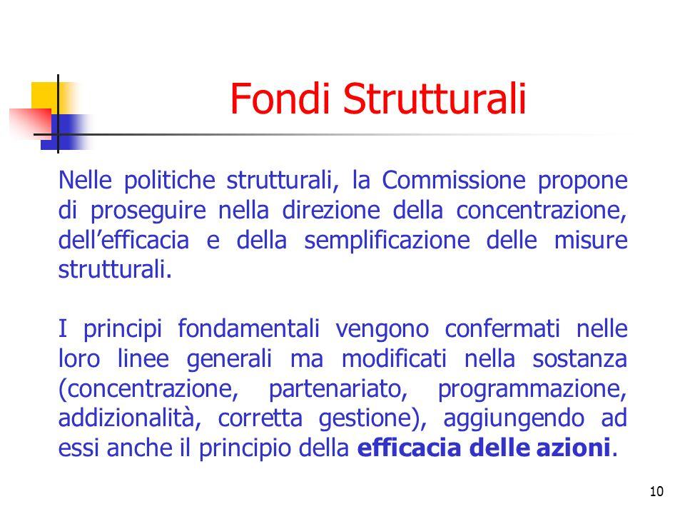 10 Fondi Strutturali Nelle politiche strutturali, la Commissione propone di proseguire nella direzione della concentrazione, dellefficacia e della sem