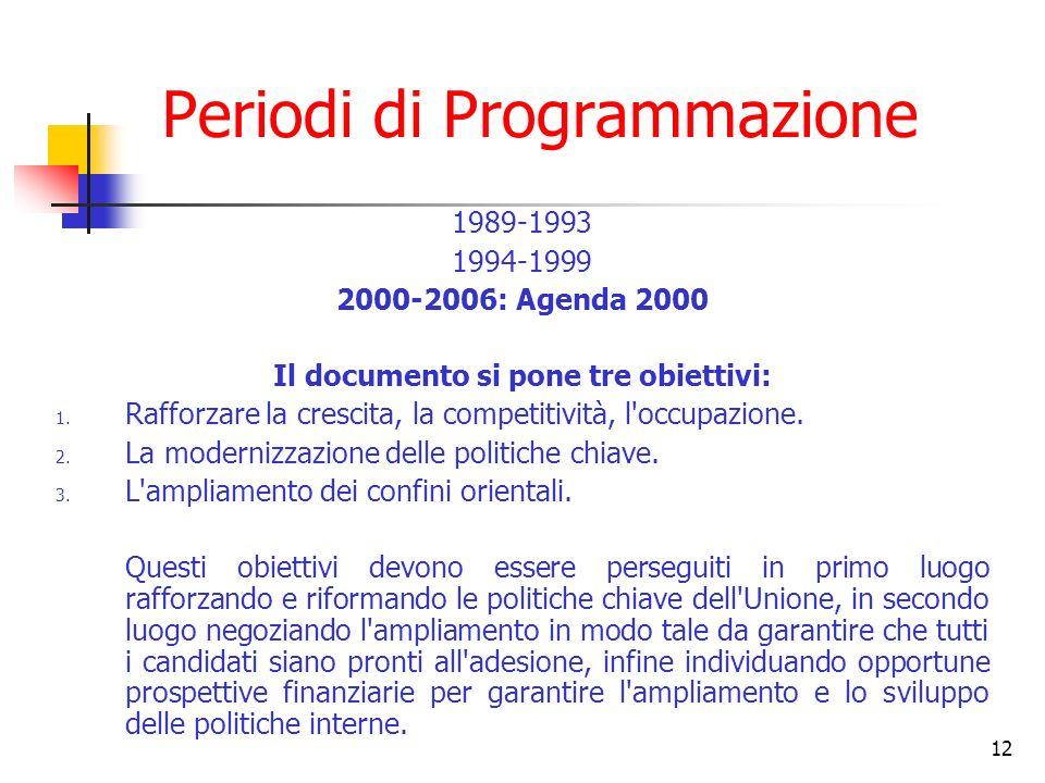 12 Periodi di Programmazione 1989-1993 1994-1999 2000-2006: Agenda 2000 Il documento si pone tre obiettivi: 1. Rafforzare la crescita, la competitivit