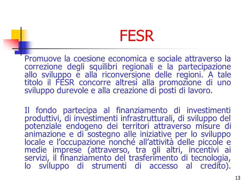 13 FESR Promuove la coesione economica e sociale attraverso la correzione degli squilibri regionali e la partecipazione allo sviluppo e alla riconvers