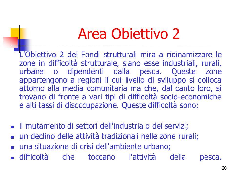 20 Area Obiettivo 2 L'Obiettivo 2 dei Fondi strutturali mira a ridinamizzare le zone in difficoltà strutturale, siano esse industriali, rurali, urbane