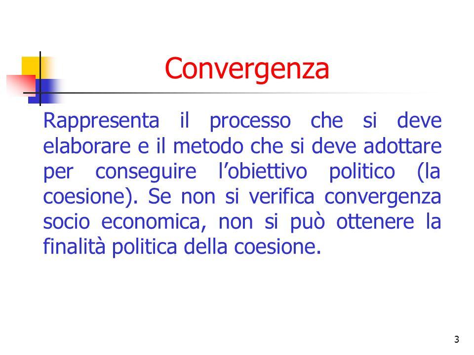 3 Convergenza Rappresenta il processo che si deve elaborare e il metodo che si deve adottare per conseguire lobiettivo politico (la coesione). Se non