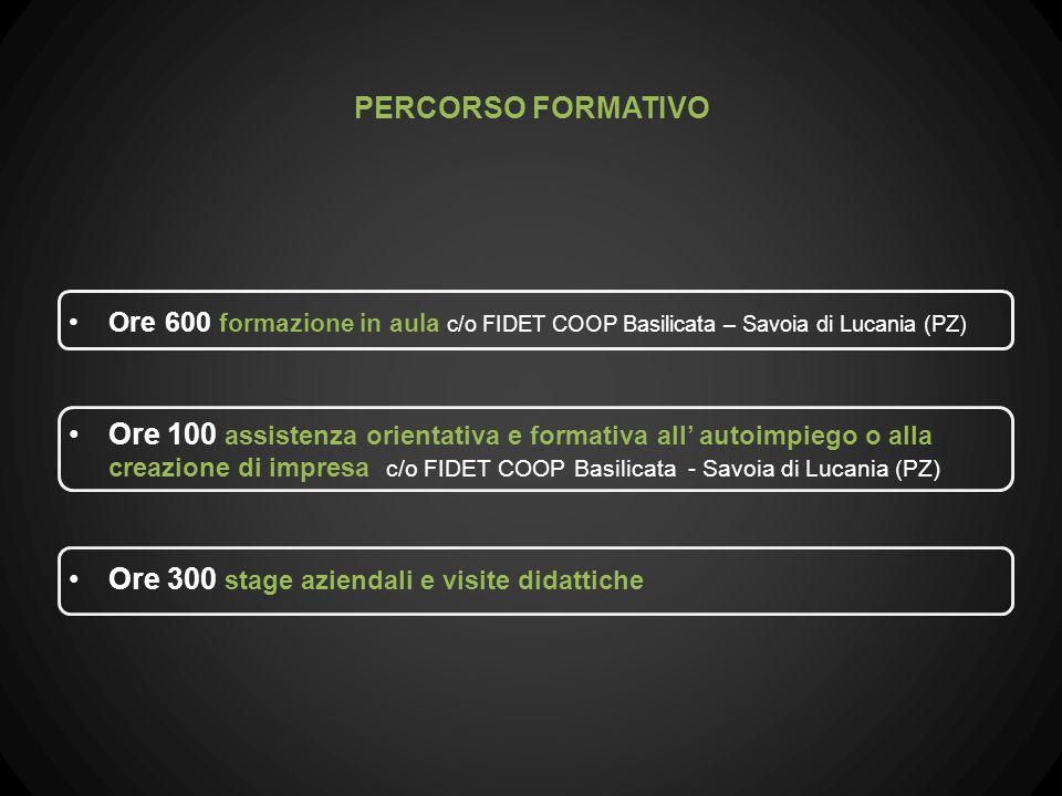 Ore 600 formazione in aula c/o FIDET COOP Basilicata – Savoia di Lucania (PZ) Ore 100 assistenza orientativa e formativa all autoimpiego o alla creazi
