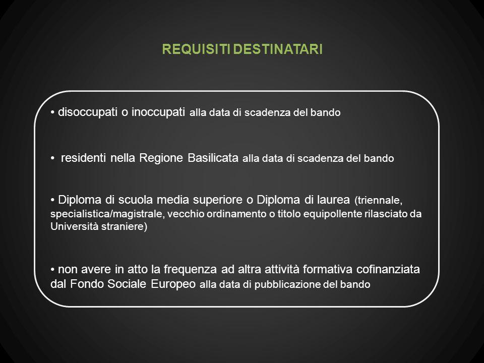 disoccupati o inoccupati alla data di scadenza del bando residenti nella Regione Basilicata alla data di scadenza del bando Diploma di scuola media su